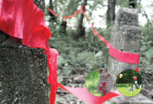 Red streamers on headstones